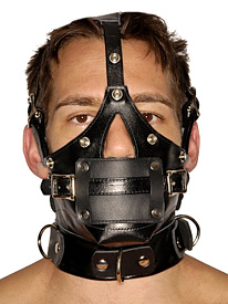 Leather Muzzle with Removeable Blindfold and Gags