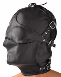 Leather Hood -Total Control- Blindfold - Muzzle