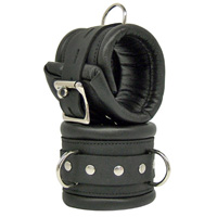Black Leather Tick Padded Cuffs