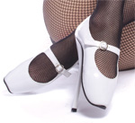 White Mary Jane Ballet Heels