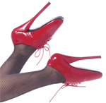 Red Lace Up Ballet Heels