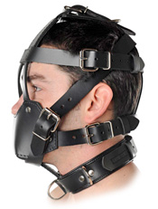 Side View of Black Leather Muzzle