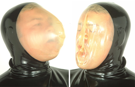 Latex breathing hood in action
