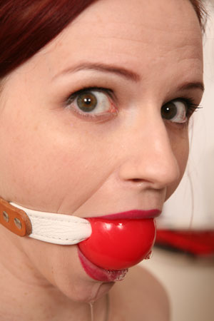 Claire Adams drooling over our ball gags!
