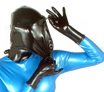 Zipper Front Latex Hood
