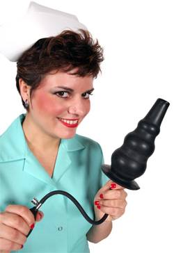 Nurse Mona with huge inflatable enema nozzle 2