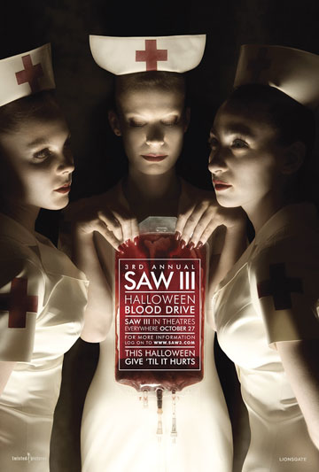The movie, Saw III, keeps medical fetishists on the edge. And what a cool poster for us Nurse lovers!