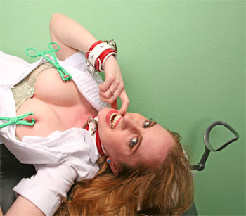 Natali Demore in Red-White Cuffs and Forceps
