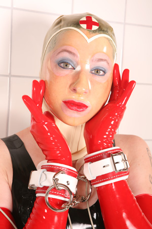 Latex Nurse Hood and Leather Nurse Restraints