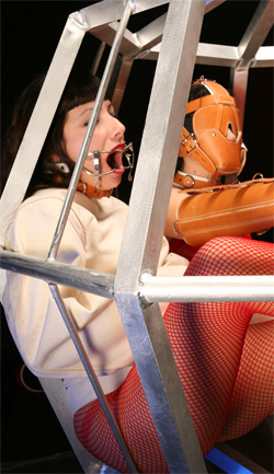 Nurse Victoria in Cage wearing Whitehead Gag