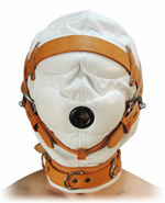 Sensory Deprivation Hood White with Tan Leather