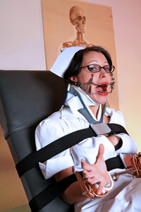 Nurse Cindy in Whitehead Gag and Surgical Collar
