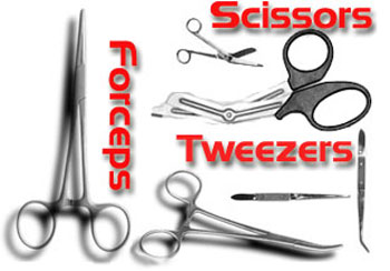 Forceps Twezers Scissors